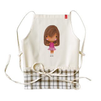 The little girl in the pink dress zazzle HEART apron