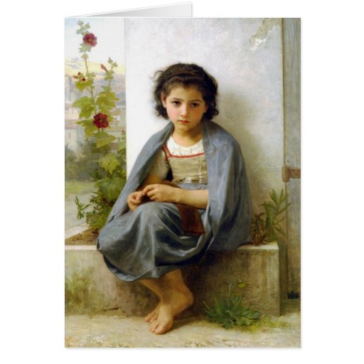 The Little Knitter - William-Adolphe Bouguereau Greeting Cards