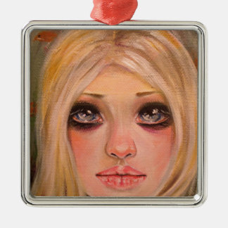 The little mergirl - a blonde mermaid metal ornament