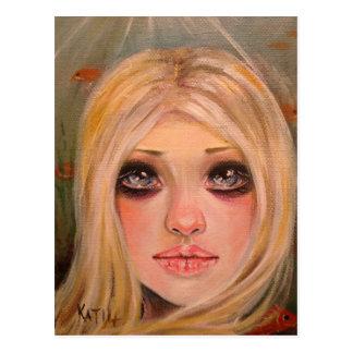 The little mergirl - a blonde mermaid postcard