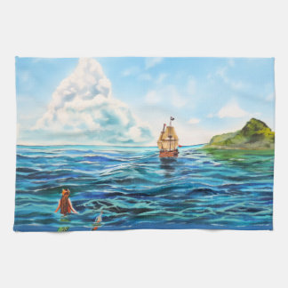 The little Mermaid seascape painting Hand Towel