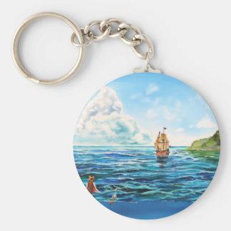 The little Mermaid seascape painting Keychain