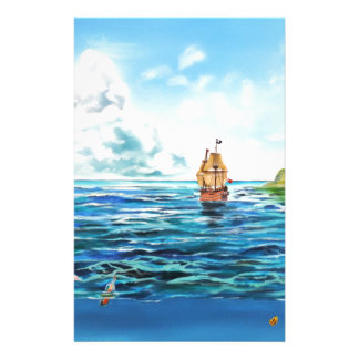 The little Mermaid seascape painting Stationery