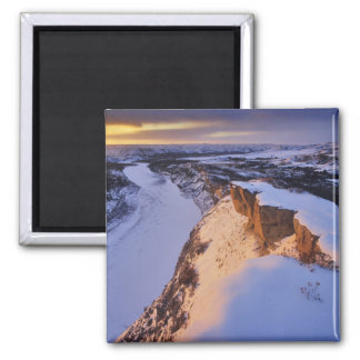 The Little Missouri River in winter in 2 Inch Square Magnet