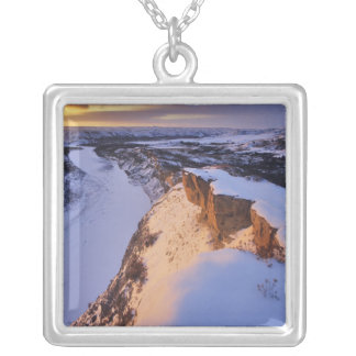 The Little Missouri River in winter in Silver Plated Necklace