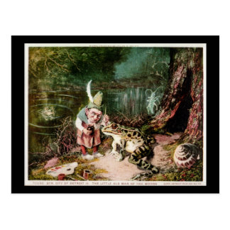 The Little Old Man of the Woods Mural Vintage Postcard