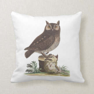 The Little Owl from Antique Print by Catesby Throw Pillow