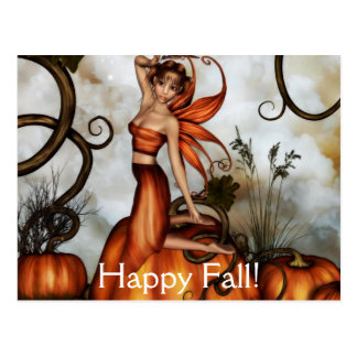 The Little Pumpkin Fairy Postcard by Emma Marlow