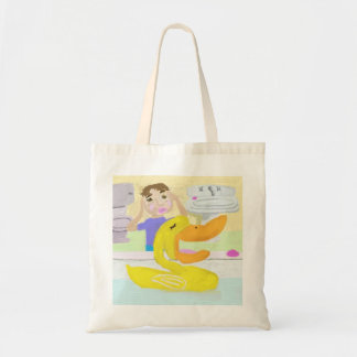 The Little Rubber Ducky Sings Opera In The Bathtub Budget Tote Bag