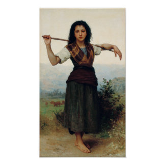 The Little Shepherdess by Bouguereau Poster