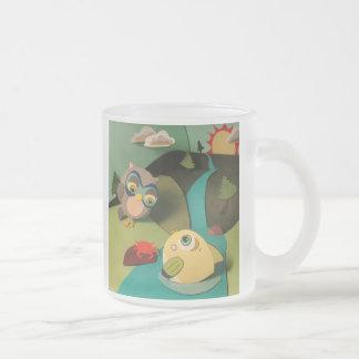 The Little Star Frosted Owl & Fish Ringer Mug