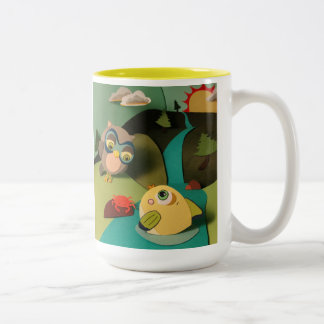 The Little Star Jumbo Owl & Fish Mug
