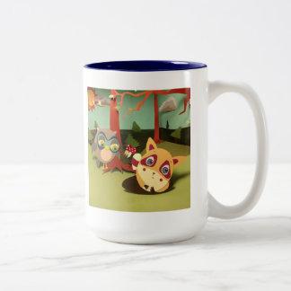 The Little Star Jumbo Owl & Raccoon Mug