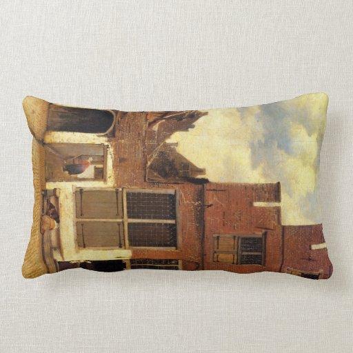 The little street by Johannes Vermeer Pillow