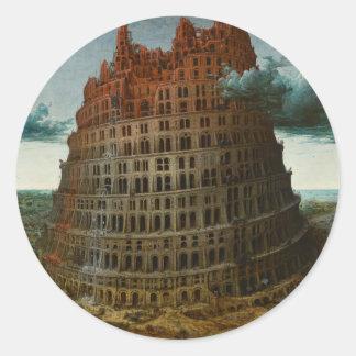 The Little Tower of Babel by Pieter Bruegel Classic Round Sticker