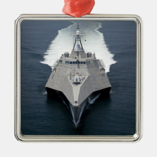 The littoral combat ship Independence Square Metal Christmas Ornament