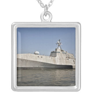 The littoral combat ship Independence underway Silver Plated Necklace