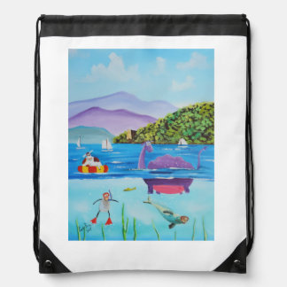 The Loch Ness monster by Gordon Bruce Drawstring Backpack