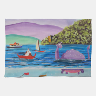 The Loch Ness monster painting Gordon Bruce Hand Towel