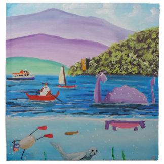 The Loch Ness monster painting Gordon Bruce Napkin