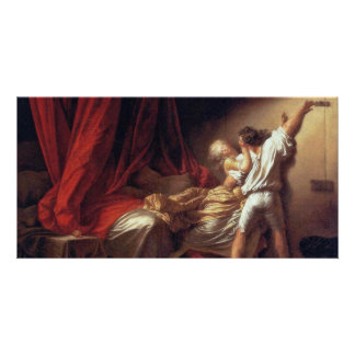 The Lock,  By Fragonard Jean-Honoré (Best Quality) Personalized Photo Card