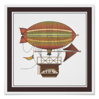 The Locke Hackney Airship Flying Machine Poster