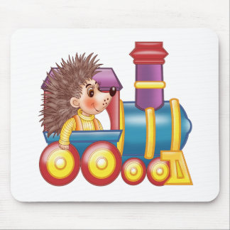 the locomotive and the hedgehog mouse pad