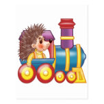 the locomotive and the hedgehog post card