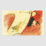 The loge with a gold mas by Toulouse-Lautrec Rectangle Sticker
