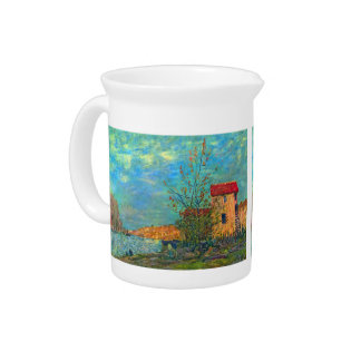 The Loing in Moret by Alfred Sisley Beverage Pitcher