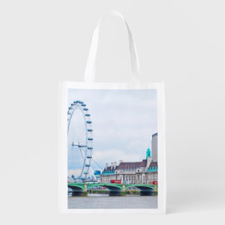 The London Eye on a Sunny Day Grocery Bags