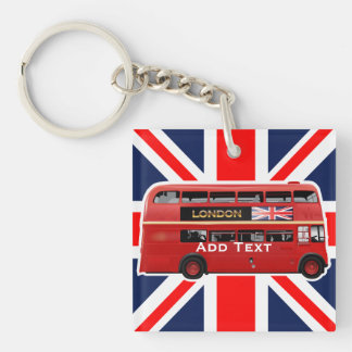 The London Red Bus Single-Sided Square Acrylic Keychain