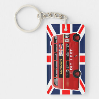 The London Red Bus Single-Sided Rectangular Acrylic Keychain
