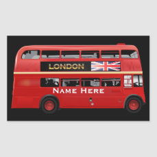 The London Red Bus Rectangular Sticker