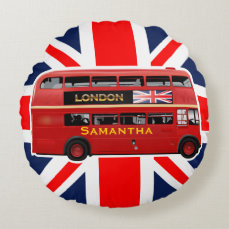 The London Red Bus Round Pillow