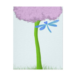 The Lone Hydrangea and Colorful Dragonfly Canvas Print
