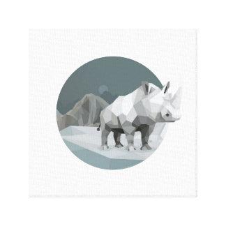 The lone rhino canvas print