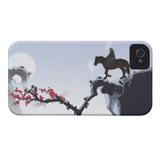 The Lone Rider Cold - Winter Mountain Peaks iPhone 4 Cover