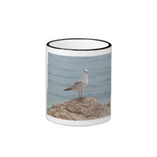 The Lone Seagull (2134) Black Ringer Mug 11oz