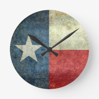 """The """"Lone Star Flag"""" of Texas Round Clock"""