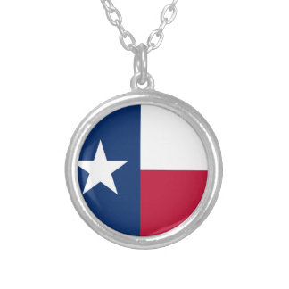 The Lone Star Flag Texas Flag Silver Plated Necklace