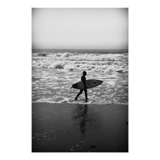The Lone Surfer and the Sea Posters