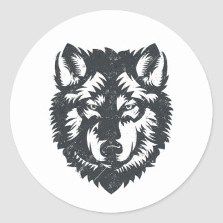The Lone Wolf - Graphic Illustration Classic Round Sticker