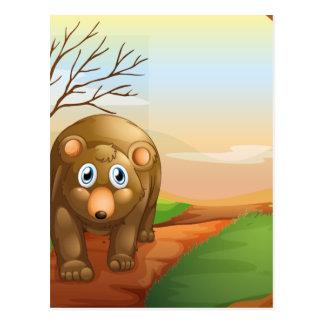 The lonely bear walking postcard