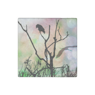 The Lonely Crow Marble Stone Magnet