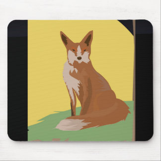 The Lonely Fox Sitting Viewing the Moon Mouse Pad