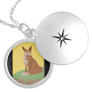 The Lonely Fox Sitting Viewing the Moon Pendants