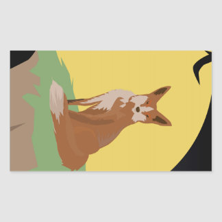 The Lonely Fox Sitting Viewing the Moon Rectangular Sticker