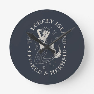 The Lonely Island Mermaid Round Clock