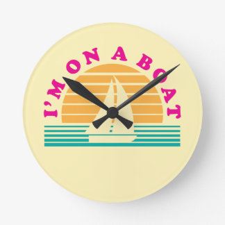 The Lonely Island On A Boat Round Clock